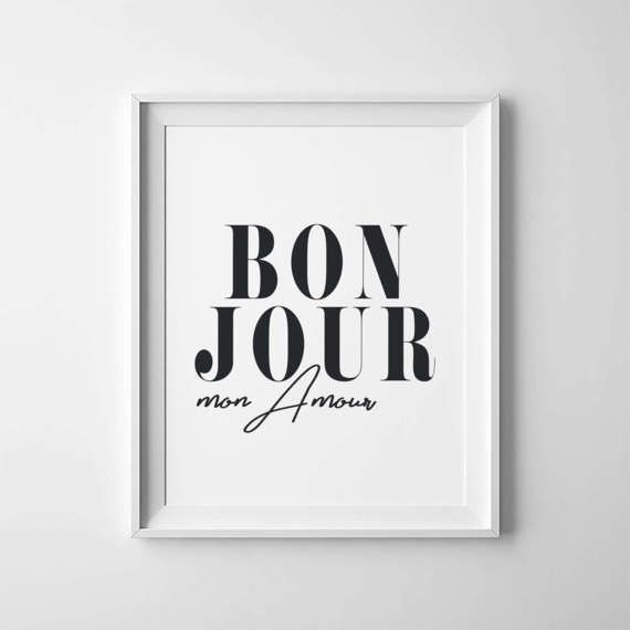 Printable Poster ''Bonjour Mon Amour'' French Decor by RenStudioCo