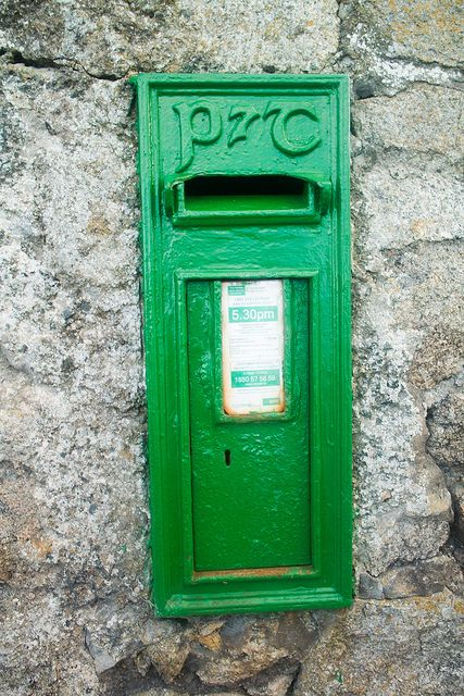 Green Postbox In Dalkey (P Post And Telegraphs):Wall boxes are a type of post box or letter box found in many countries including France, the United Kingdom, the Commonwealth of Nations, Crown dependencies and Ireland. They differ from pillar boxes in that, instead of being a free-standing structure, they are generally set into a wall (hence the name) or supported on a free-standing pole, girder or other stable structure.