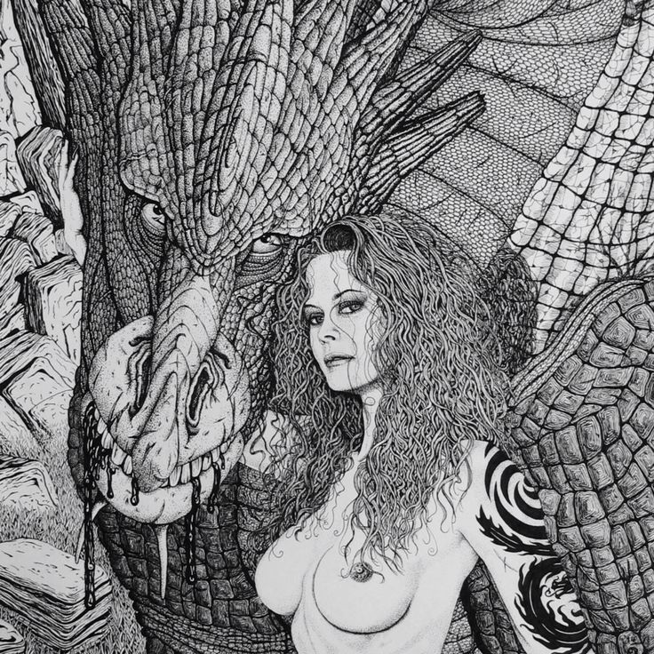 A cropped image of the Goddess Sith & her dragon daughter (1 of 99 spawn she released on the world)