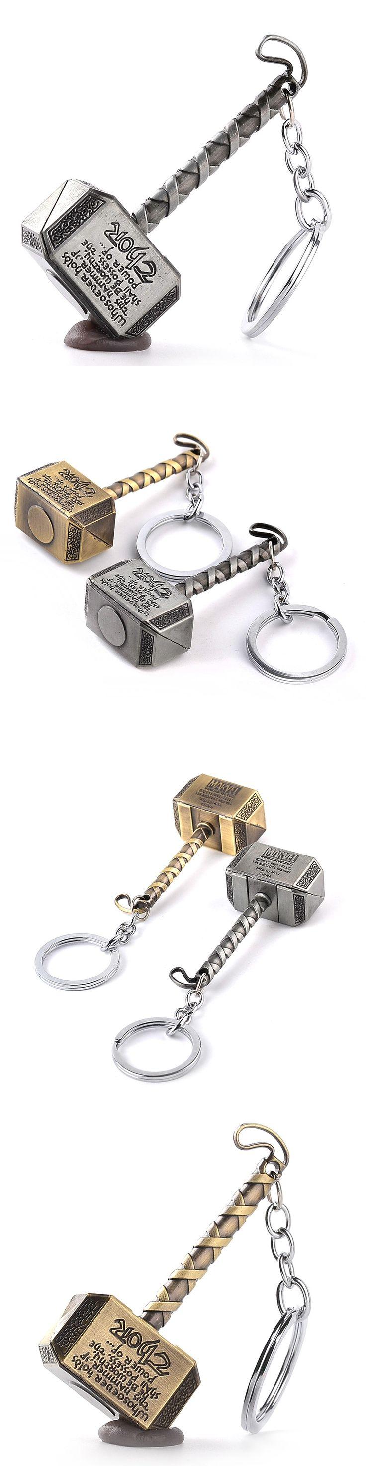 Vintage Thor Hammer Keychains Marvel Avengers Key Rings Movie Series Thor Key Holder Thor The Dark World Key Finder Bags Keyring