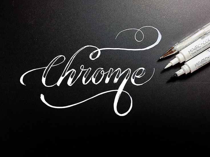Calligraphy/Lettering Chrome by jackson alves. THIS IS NOT A BLACKBOARD, only white ink on black paper.