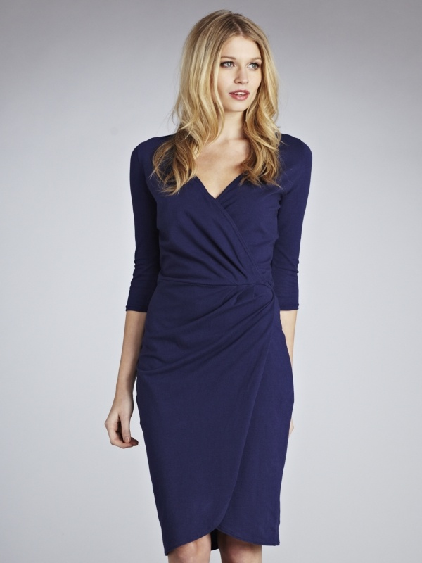 a Zyla Dramatic color for Classic Summer, the Classic Beauty - navy wrap dress