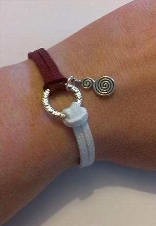 Spiritual Spiral Burgundy and White Suede Bracelet