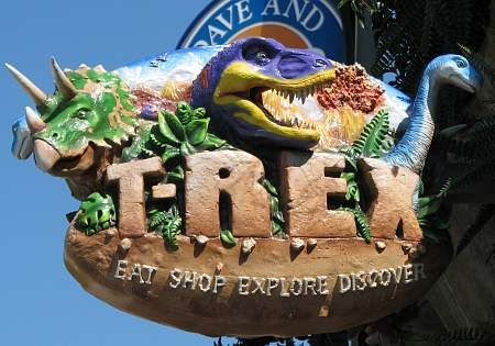 Kansas City, KS - T-Rex Cafe is a wild place to shop, eat, explore and discover. Guests are treated to a prehistoric adventure, including face-to-face encounters with life-size dinosaurs, geysers, ice caves, a waterfall and even a dinosaur dig.  T-Rex offers a remarkable array of eclectic food, exceptional service and phenomenal retail including Build-a-Dino workshop.