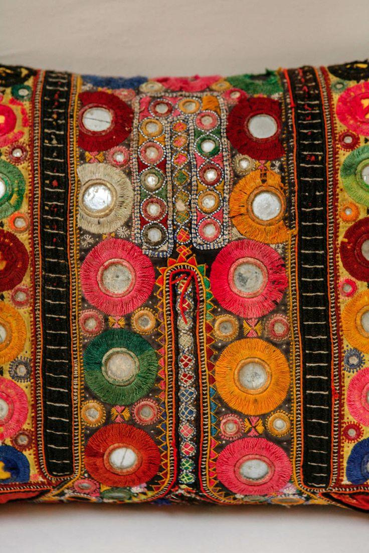 Vintage Indian Shisha Mirrorwork Pillow image 4