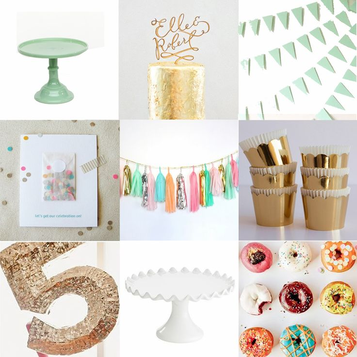 Confetti colors + gold theme. Inspiration for a cute shower or party!