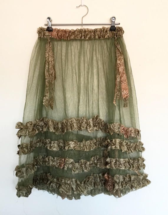 Woodland Mori Green Ethereal Faery Hand Adorned Lace Net Raw