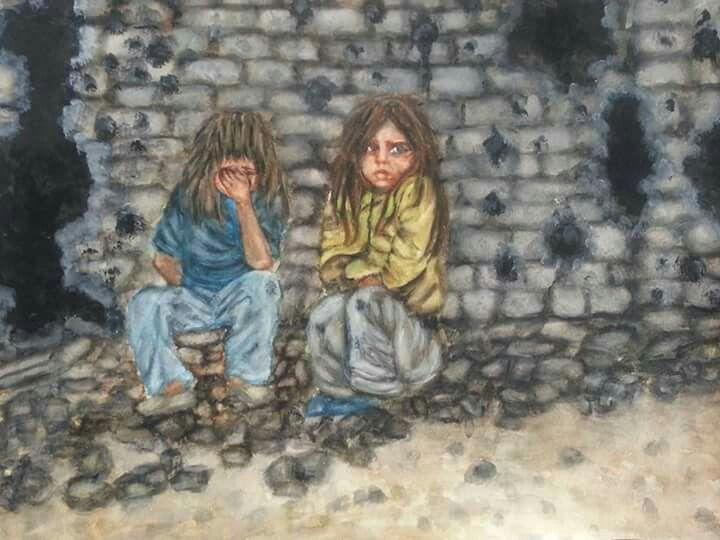 اطفال سوريه ما ذنبهم .أوقفوا الحرب. من اعمالي رسم بالمائي ...
