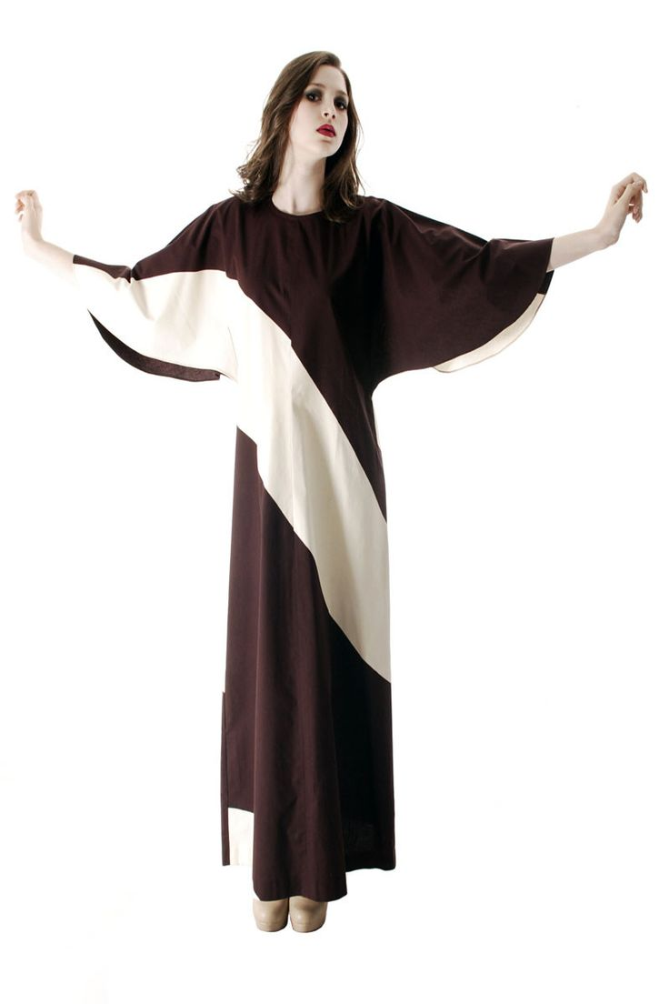 Vintage 1970s Vuokko Designer Angel Sleeve Tent Dress Brown& Ivory Diagonal Stripes 44 Large