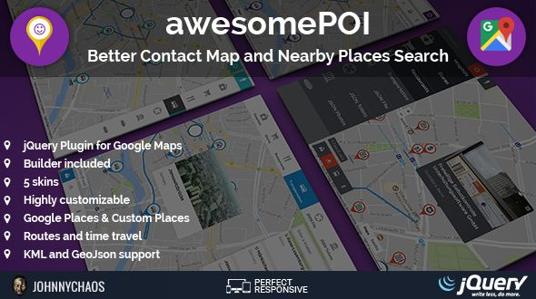 cool awesomePOI - Far better Get in touch with Map and Nearby Locations Search jQuery Plugin (Miscellaneous)