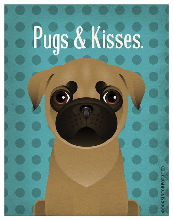 Pug Funny Dogs Original Art Print  Humorous by DogsIncorporated, $29.00