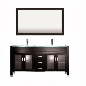 Home Decorators Collection Chelsea 22 in. Vanity in Antique Cherry with Granite Vanity Top in Black with White Basin - 1588900190 - The Home Depot