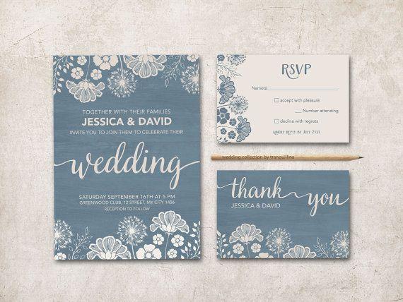 Modern Wedding Invitation Printable, Rustic Wedding Invitations, Dusty Blue and Ivory wedding Ideas, Blue Wedding Invitations. More wedding stationery at: tranquillina.etsy.com