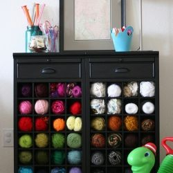 25 Totally Clever Storage and Organization Tips & Tricks, including this wine rack as yarn storage.: Wine Racks, Organization, Knitting, Yarns, Craftroom, Storage Ideas, Yarn Storage, Crafts