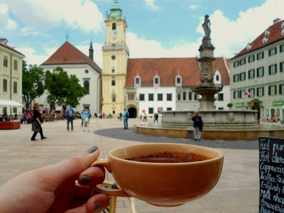 Bratislava  (I spent as many afternoons as I could in this square....coffee and cake from the corner shop!)