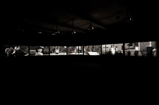 Fifth Night by Yang Fudong 2010, Black and White Video on 7 Screens, 10m37s