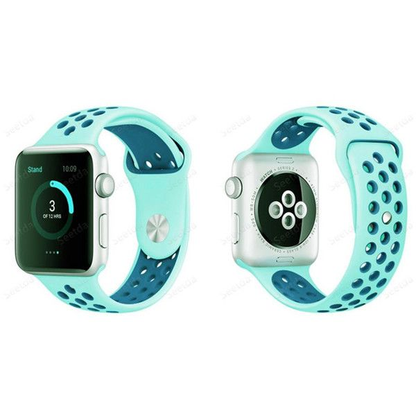 Apple Watch Band,Soft Silicone iwatch Sport Band Replacement ($9.99) ❤ liked on Polyvore featuring jewelry, watches, jewelry & watches, unisex jewelry, silicone sports watches, silicone jewelry, apple jewelry and sport jewelry