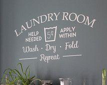 Buanderie chambre aide nécessaire amovible sticker vinyle, autocollant de mur buanderie chambre mur art buanderie salle laver machine à laver sèche séchage vêtements