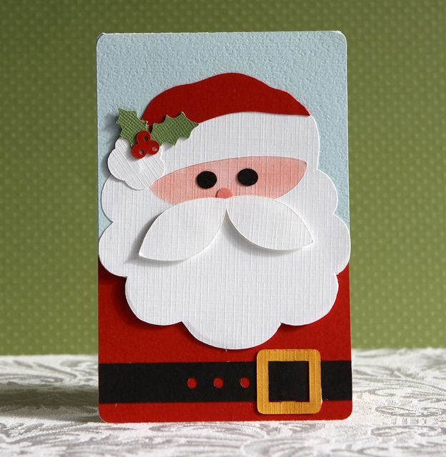 handmade Christmas card: Silhouette Santa Card by dedernc3 (debbie), via Flickr... done with a die cutting file ... luv it!!