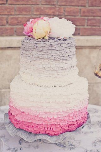 25 Ombre & Ruffle Wedding Cake Wonders