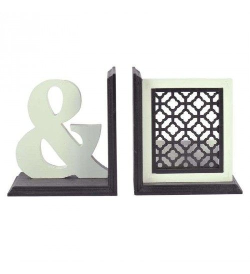 S_2 WOODEN BOOKEND IN BLACK AND WHITE COLOR 16(32)Χ11Χ17