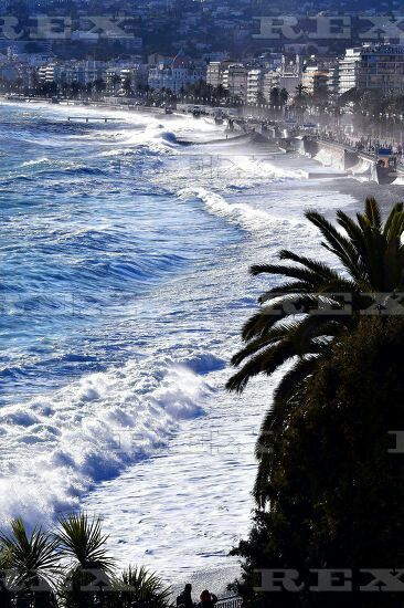 Stormy Weather in Nice, France - 05 Mar 2016  Large waves break against barriers at the coasts of the 'Promenade des Anglais' during a storm in Nice 5 Mar 2016