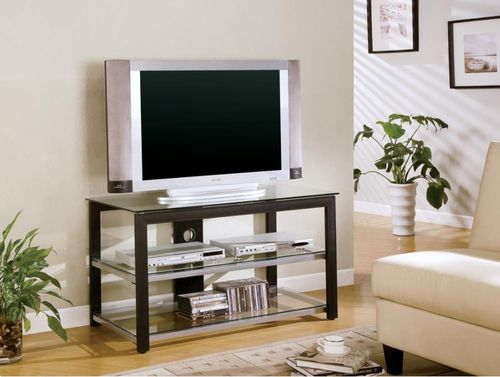 Contemporary Black & Silver TV Stand 700612