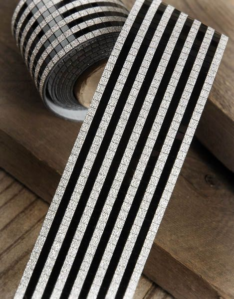 this black silver mosaic applique ribbon is amazing stuff its adhesive back makes it - How To Make Paper Halloween Decorations