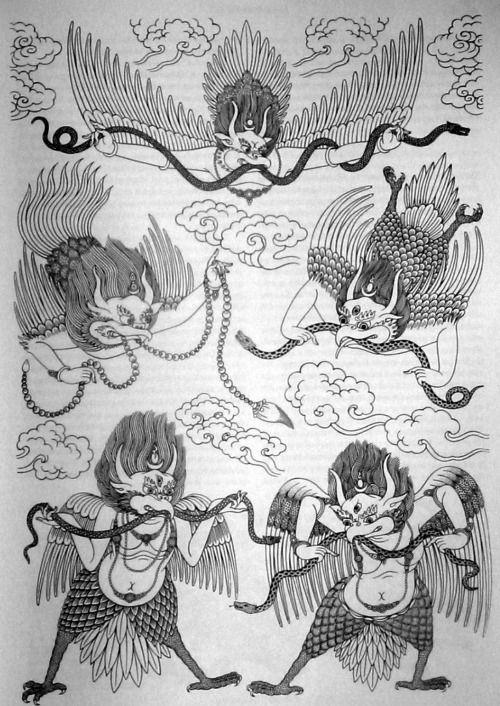 "The Garuda ""The Garuda (Sanskrit: गरुड़ garuḍa, Tamil:கருடன் ""garuḍan"") is a large mythical bird or bird-like creature that appears in both Hinduand Buddhist mythology. Garuda is the mount (vahana) of the Lord Vishnu. Garuda is the Hindu name for the..."