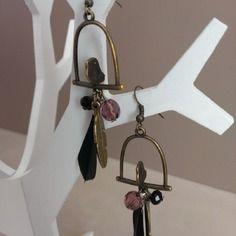 "Boucles d'oreilles ""liberty bird"" bronze et plume"
