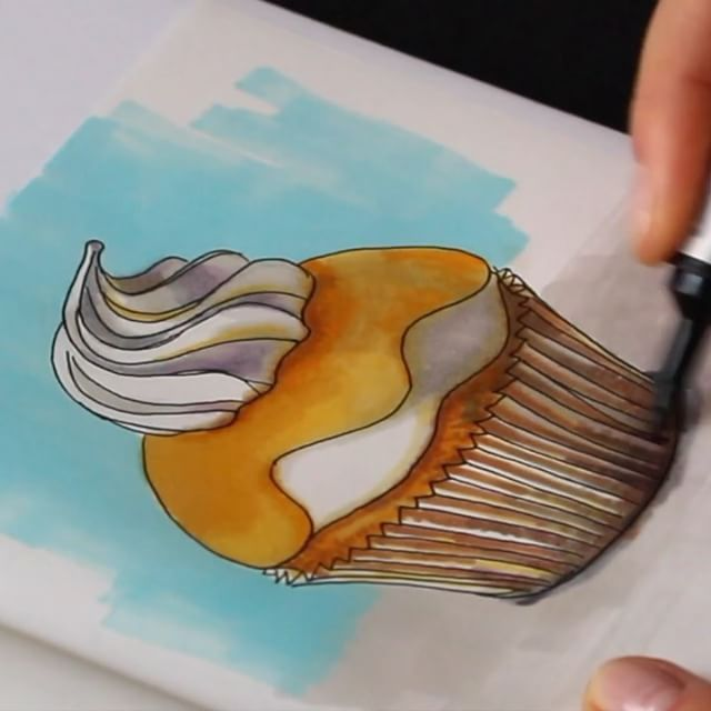 """I decided to share with you a small part of the drawing process of #lemon #cupcake I hope you'll like it! Let me know in the comments below if you want more videos about marker and pencil drawings. The finalized drawing of this lemon cupcake you can see in previous post.  Music """"A1 Rogue"""" by Podington Bear CC BY NC."""
