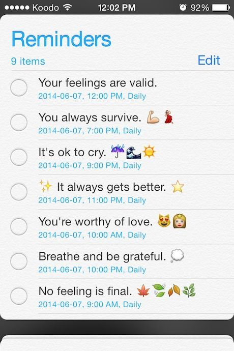 Emotional #selfcare tip: set up phone reminders in the form of positive affirmations or inspiring quotes to go off at various times throughout the day or week.