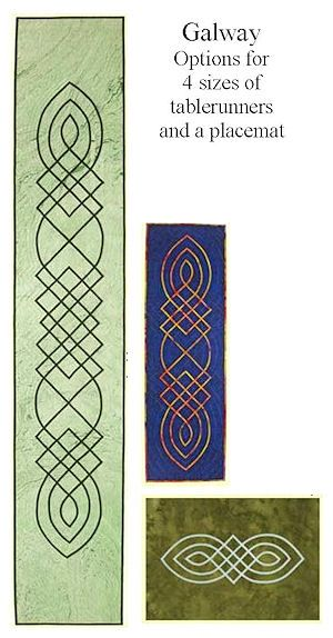 Galway, a Celtic applique pattern for multiple sizes of tablerunners or wallhangings.