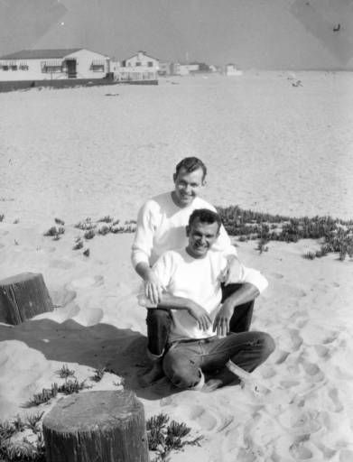 John Quitman Lynch and Hal Rebarich at the beach :: ONE National Gay and Lesbian Archives