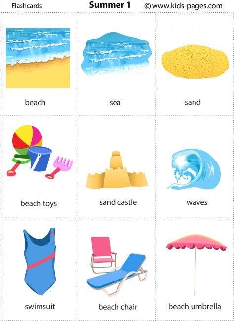 Free printable summer flashcards