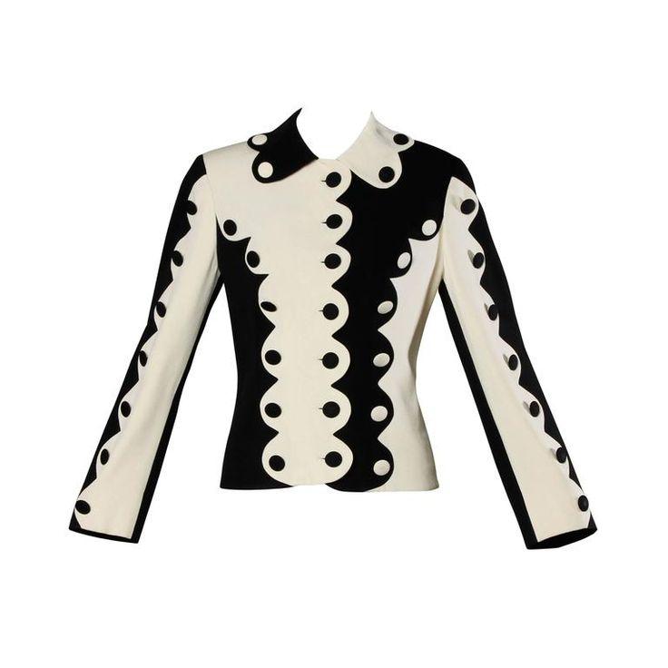 Moschino Vintage 1990s Black + White Two-Tone Scalloped Jacket
