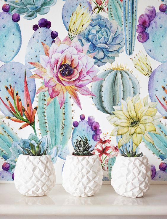 Watercolor Cactus Wallpaper, Removable Wallpaper, Self-adhesive Wallpaper, Floral Wall Décor, Flower Wallcovering - JW019