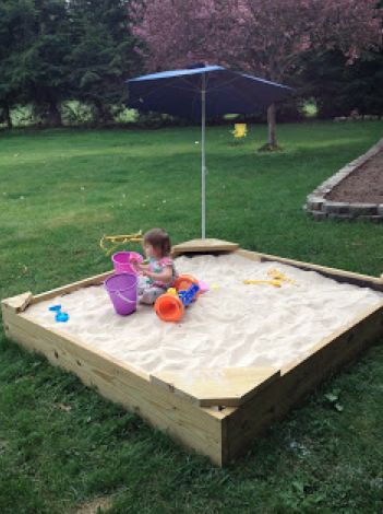 DIY sandbox in a weekend... Kids love to play in the sand and if you don't have easy access to a beach this simple sandbox can be the remedy. This project, which can be knocked out over a weekend will bring tons of outdoor enjoyment for your family. Unfortunately, we cannot fit all the directions in this small spot. Be sure to check out our blog for more information on this DIY sandbox. Join the conversation at: #backyardDIY . credit: This Old House
