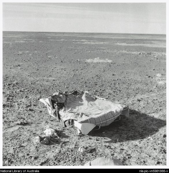 Nolan, Sidney, Sir, 1917-1992. Folding bed in a parched plain, Queensland, 1952 [picture]