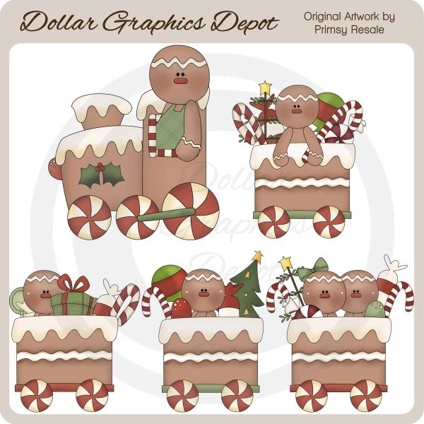 Gingerbread Train - Clip Art - $1.00 : Dollar Graphics Depot, Quality Graphics ~ Discount Prices