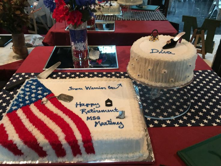 Military retirement party cake  table set up                              …                                                                                                                                                                                 More