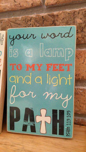 Scripture Art, Bible Verse Art, Faith Based Art, Psalm 119:105, 5x8 art print on wood. $16.00, via Etsy.
