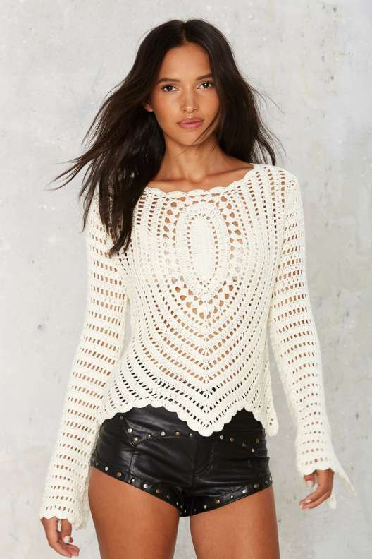 The Mission Crochet Sweater - Summer Whites                                                                                                                                                     More