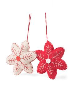 Made In India Set Of 2 Wool Snowflake Ornaments