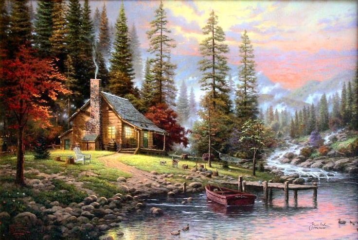 Peaceful Retreat (Beginning of a Perfect Evening II) by Thomas Kinkade