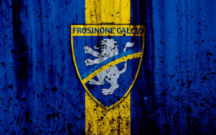 Download wallpapers Frosinone, 4k, grunge, Serie B, football, Italy, soccer, FC Frosinone, stone texture, football club, Frosinone FC
