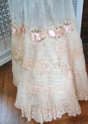 Maria Niforos - Fine Antique Lace, Linens & Textiles : Antique & Vintage Clothing # CL-56 Exquisite Princess Petticoat w/ Valencienne Lace