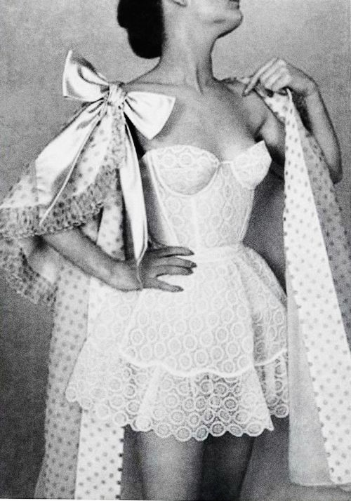 Vintage lingerie by Jacques Fath in L'Officiel, 1956