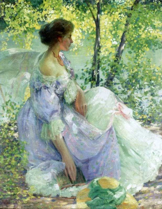 In the Garden. Richard Edward Miller (American, 1875-1943). Miller and Frederick Frieseke often met at Monet's home to paint, critique, and socialize. Miller readily adopted an aesthetic similar to that of Frieseke: wistful maidens relaxing in sun-flecked gardens painted with broken strokes in impressionist colors. Repeated diagonals of figures and furniture generally characterize the patterning of his canvases, a dynamic that strengthens their inherent introspection.