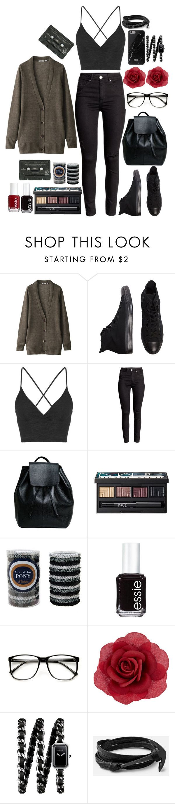 """Soft Grunge Fashion"" by castle-of-ghosts ❤ liked on Polyvore featuring Uniqlo, Converse, Topshop, NARS Cosmetics, L. Erickson, Essie, ZeroUV, Accessorize, Chanel and Hipster"
